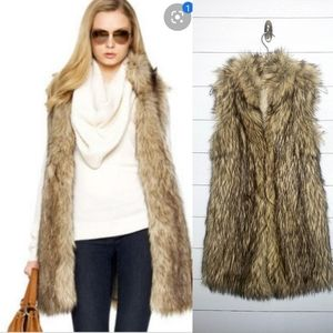 Michael Michael Kors Brown Multi Long Fur Vest